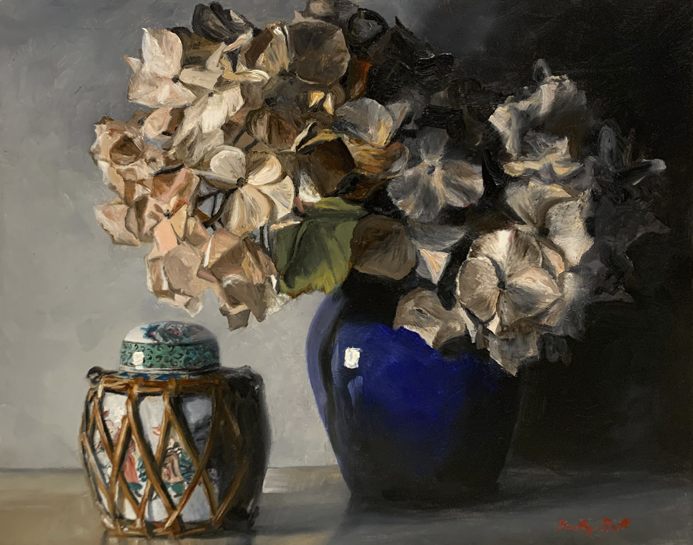 Hydrangea and Blue Vase